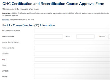 OHC Course Approval Application